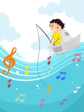 Stickman Illustration eines Kid Jungen-Fischen für eine musikalische Note Standard-Bild - 54948938