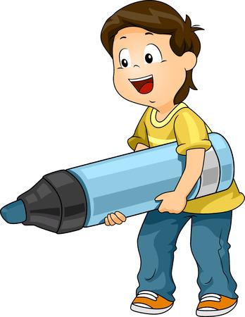preschooler: Illustration of a Kid Boy Carrying a Big Marker