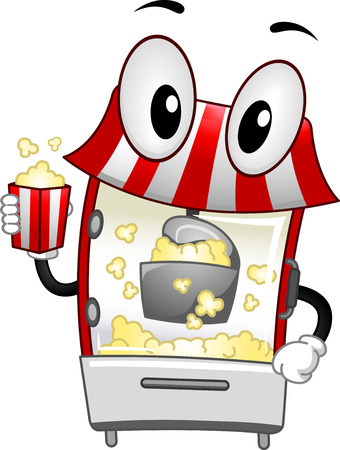 cartoonize: Mascot Illustration of a Popcorn Machine handling a bucket of popcorn