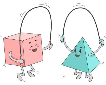 objetos cuadrados: Ilustración de la mascota de un cuadrado y triángulo Formas durante la reproducción de la cuerda de salto Foto de archivo