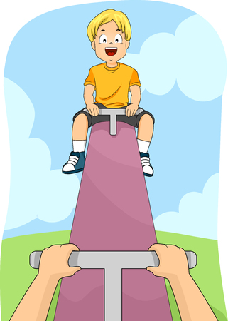 see saw: Illustration of a Happy Boy while Playing See Saw Stock Photo