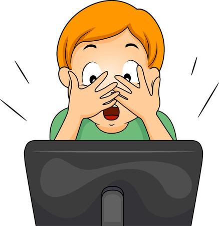 Ilustración de un niño que cubre su cara mientras ve un programa de internet