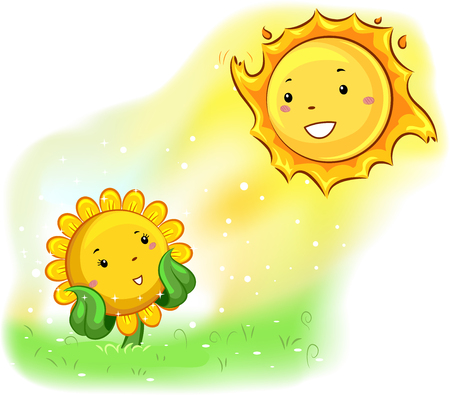 facing: Mascot Illustration of a Sunflower facing the sun