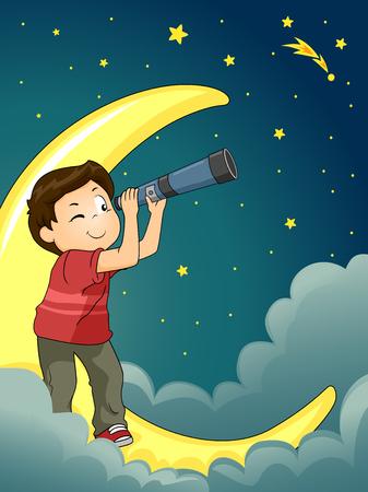 astronomie: Astronomie Illustration eines Kid Boy Star Gazing mit einem Teleskop Lizenzfreie Bilder
