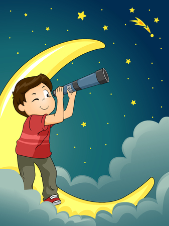 gazing: Astronomy Illustration of a Kid Boy Star Gazing with a Telescope Stock Photo