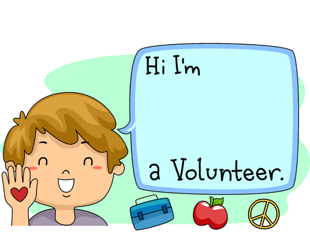 introducing: Illustration of a Happy Boy Introducing himself as a Volunteer