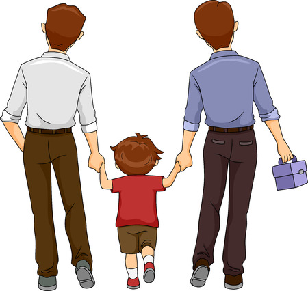 gay boy: Illustration of a Boy walking together with two fathers
