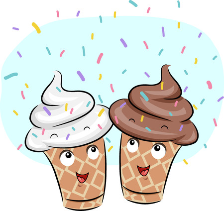 Mascot Illustration of Ice Cream scattered with sprinkles Stock Photo