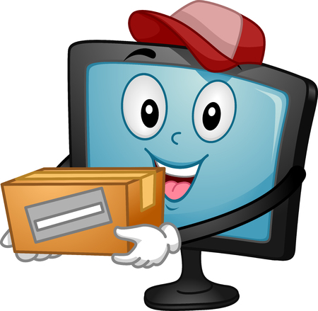 deliver: Mascot Illustration of a Monitor carrying a deliver box Stock Photo