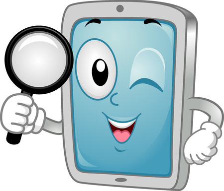 cartoonize: Mascot Illustration of a Tablet  Mobile Phone handling a Magnifying Glass searching for App