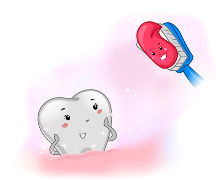 facing: Mascot Illustration of a Happy Toothbrush Facing Clean Tooth