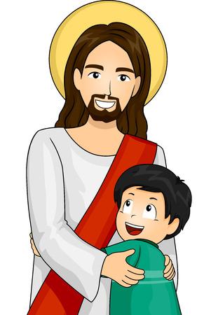 Illustrazione di Gesù Cristo e un ragazzo felice reciprocamente dando un abbraccio