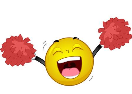 lideres: La mascota Ilustración de un sonriente feliz Saludos durante la manipulación de Pompoms