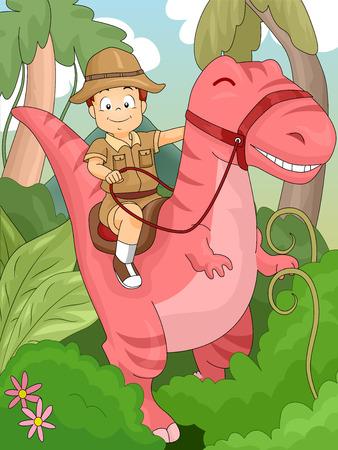 boy kid: Illustration of a Kid Boy Riding on a Dinosaur for Adventure Stock Photo
