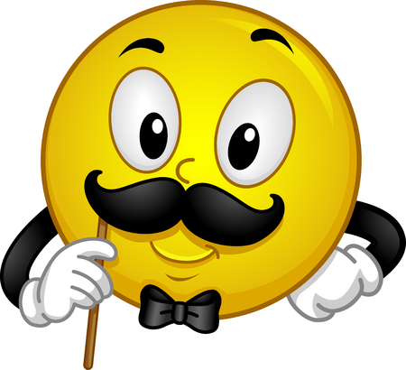 masculinity: Mascot Illustration of a Gentleman Smiley showing his Mustache for Photo op
