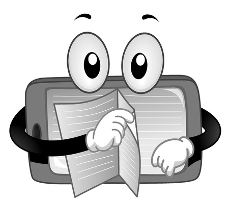 turning: Mascot Illustration of a Tablet while turning each pages of the book