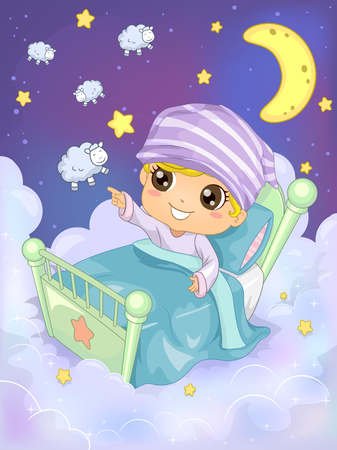 night art: Bedtime Illustration of a Kid Trying to Count 10 Sheep to Sleep - eps10