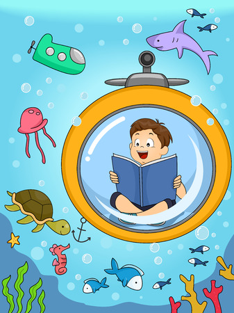 Illustration of a Kid Underwater seeing animals he was reading about. Stock Photo