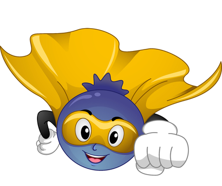 cartoonize: Mascot Illustration of a Blue Berry Superfood while flying
