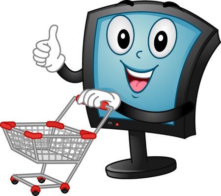 empujando: La mascota Ilustración de un monitor empujando un carrito de compras Foto de archivo