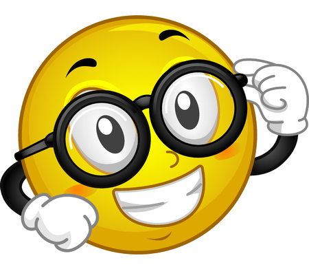 eye glasses: Mascot Illustration of a Smiley showing off his Eye Glasses
