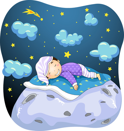 pajama: Illustration of a Kid Boy Dreaming While Sleeping on the Moon