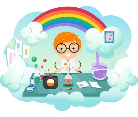 arcoiris caricatura: Ilustración stickman de un niño Kid Experimentación en un nuevo color en un laboratorio de colores del arco iris