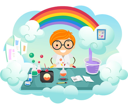 school boy: Stickman Illustration of a Kid Boy Experimenting on a New Color in a Rainbow Colored Lab Stock Photo
