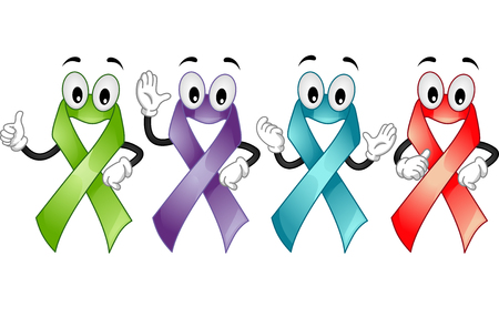 awareness ribbons: Mascot Illustration of Ribbons promoting awareness