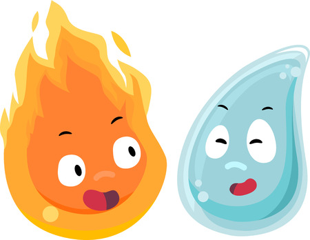 facing: Mascot Illustration of Fire and Water facing each other Stock Photo