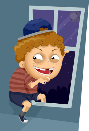 trickster: Illustration of a Kid Boy Trying to Sneak Out Through the Window