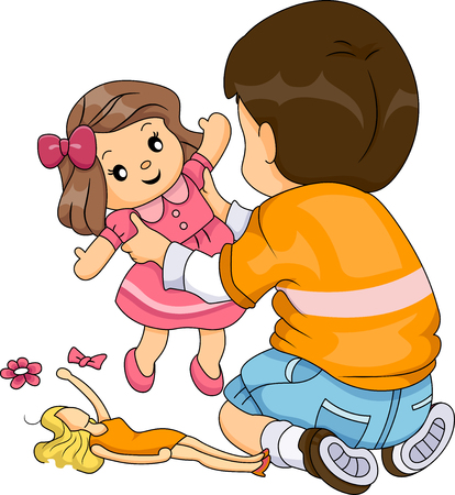 art activity: Illustration of a Boy while Playing Dolls