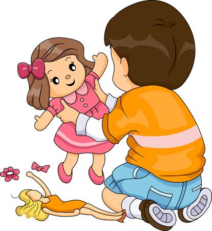 Ilustración de un niño, mientras que jugar con las muñecas