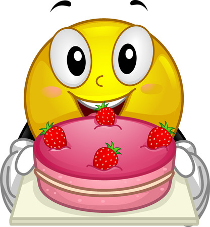 fruit cake: Illustration of a Smiley showing a strawberry cake