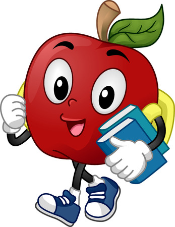 schooler: Mascot Illustration of a Student carrying books