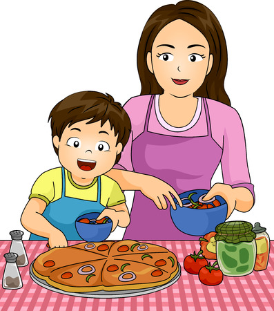mother cooking: Illustration of a Boy with his Mom while making pizza together
