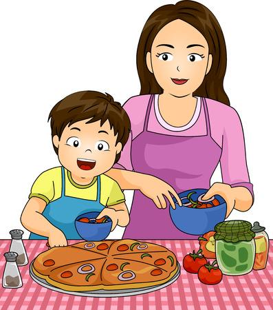 niños cocinando: Ilustración de un niño con su madre, mientras que hace la pizza juntos Foto de archivo