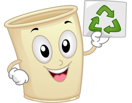 an illustration promoting: Mascot Illustration of a Paper Cup promoting the importance of Recycle Stock Photo