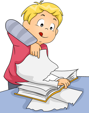 cartoon kid: Illustration of a Boy while Tearing the pages of his Book Stock Photo
