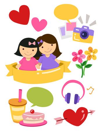 amistad: Ilustración de la muchacha de los mejores amigos Elementos de diseño