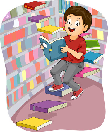 grade schooler: Illustration of a Boy Inside a Library Sitting on Book Steps