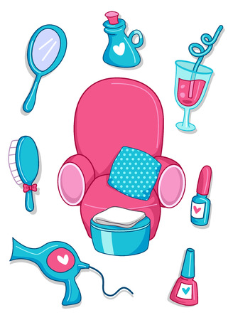 clip arts: Illustration of Spa Elements in Pink and Blue Stock Photo