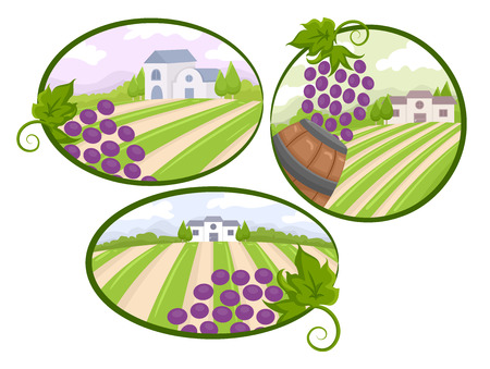 clip art wine: Illustration of Vineyard View Design Elements Stock Photo
