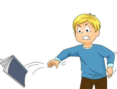 enfado: Ilustración de un niño enojado que lanza su libro debido al exceso de estrés a partir del estudio Foto de archivo