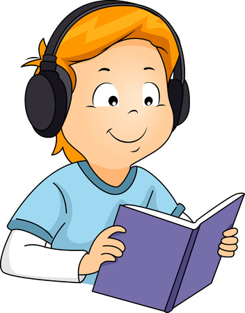 listening: Illustration of a Boy Listening to an Audio while Reading a Book