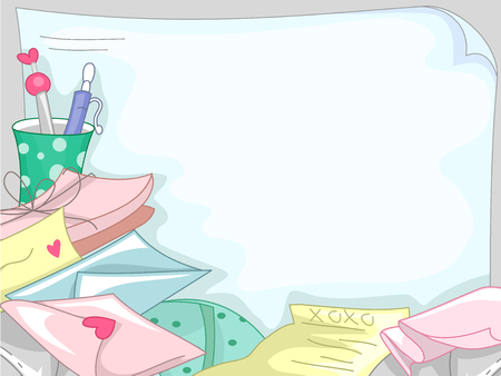 courtship: Background Illustration Featuring a Pile of Love Letters