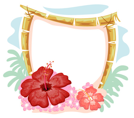 bamboo frame: Illustration of a Bamboo Frame Surrounded by Hawaiian Gumamela