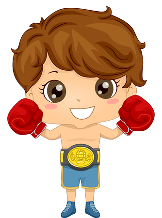 boy boxing: Illustration of a Boy wearing a Boxer Costume Stock Photo
