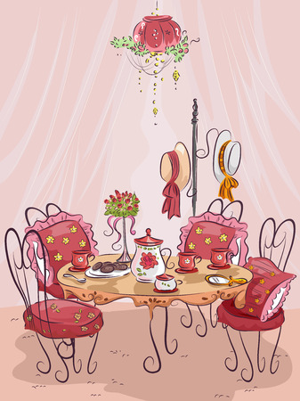 Illustration of a Fancy Party Table Setting Stock Photo