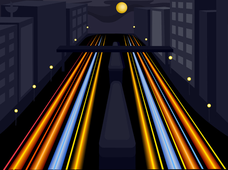 background settings: Illustration of a Car Light Trail in the Highway